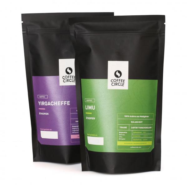 Filterkaffee Set milde Röstung: Limu und Yirgacheffe, je 350g Bohnen